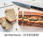 cake banana bread cut at the... | Shutterstock . vector #515302840