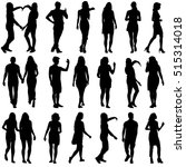 black silhouettes of beautiful... | Shutterstock .eps vector #515314018