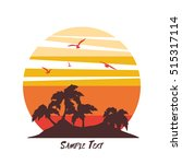 Stock vector tropical palm trees island silhouettes with sunset vector illustration 515317114