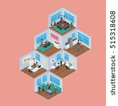 isometric office vector... | Shutterstock .eps vector #515318608
