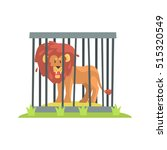 dangerous lion with big mane... | Shutterstock .eps vector #515320549