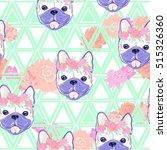 bulldog pattern   vector... | Shutterstock .eps vector #515326360