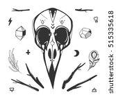 bird skull  minerals  sticks ... | Shutterstock .eps vector #515335618