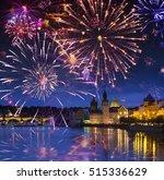 Festive firework over Karl Bridge, Prague, the Czech Republic