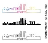 singapore skyline linear style...   Shutterstock .eps vector #515337700
