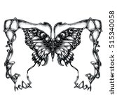detailed hand drawn butterfly... | Shutterstock . vector #515340058