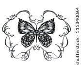 detailed hand drawn butterfly... | Shutterstock . vector #515340064