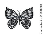detailed hand drawn butterfly... | Shutterstock . vector #515340304
