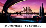 panorama of the city at sunset... | Shutterstock . vector #515348680