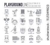 kids thin line playground field ... | Shutterstock .eps vector #515349823