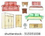 furniture different. bed  sofa  ... | Shutterstock . vector #515351038
