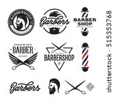 Barber Shop Badges Set. Barber...