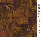 dark old rusty metal plate with ... | Shutterstock .eps vector #515363758