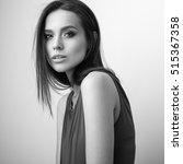 black white studio portrait of... | Shutterstock . vector #515367358