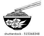 doodle noodle at bowl and stick.... | Shutterstock .eps vector #515368348