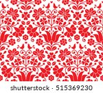 kalocsai red floral emrboidery... | Shutterstock .eps vector #515369230