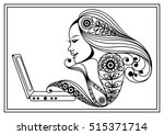 Woman With Laptop. Suitable Fo...
