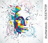 artificial intelligence head ... | Shutterstock .eps vector #515374759