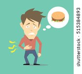 hungry man vector cartoon | Shutterstock .eps vector #515384893