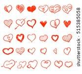 vector hearts set. hand drawn. | Shutterstock .eps vector #515385058