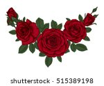 Stock vector beautiful bouquet with red roses and leaves floral arrangement design greeting card and 515389198