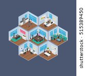 isometric office vector... | Shutterstock .eps vector #515389450