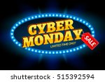 cyber monday sale retro light... | Shutterstock .eps vector #515392594