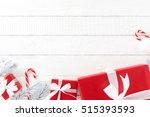 white and red christmas theme... | Shutterstock . vector #515393593