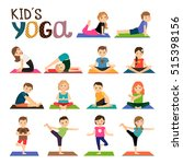 kids yoga vector icons set.... | Shutterstock .eps vector #515398156