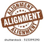 alignment stamp. brown round...