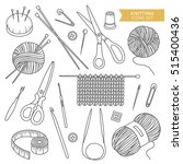 set of tools for knitting and... | Shutterstock .eps vector #515400436