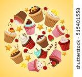 cupcake elements   vector... | Shutterstock .eps vector #515401558