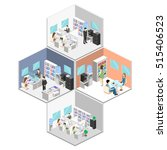 flat 3d isometric abstract... | Shutterstock . vector #515406523