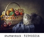 Kitten And Basket Of Fruits ...