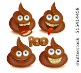 set of vector poop emoji icons. ... | Shutterstock .eps vector #515414458