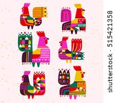 set of roosters  symbol 2017 on ... | Shutterstock .eps vector #515421358