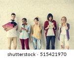 diversity students friends... | Shutterstock . vector #515421970