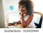 young pretty afro american... | Shutterstock . vector #515425444