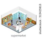isometric interior of grocery... | Shutterstock . vector #515425813