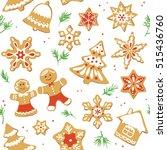 gingerbread christmas cookies...   Shutterstock .eps vector #515436760