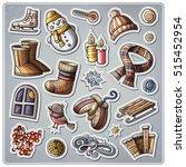 set of winter season cartoon... | Shutterstock .eps vector #515452954