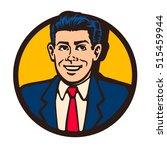retro mid century man in suit... | Shutterstock .eps vector #515459944
