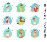 people in the bathroom doing... | Shutterstock .eps vector #515466340