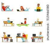 happy people spending their... | Shutterstock .eps vector #515466580