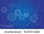 blueprint gears illustration on ... | Shutterstock .eps vector #515471368