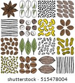 set of nuts  seeds and herbs as ... | Shutterstock .eps vector #515478004