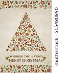 christmas greeting card on... | Shutterstock .eps vector #515480890