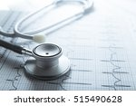 stethoscope on ekg graph... | Shutterstock . vector #515490628