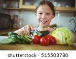 portrait of girl cutting... | Shutterstock . vector #515503780