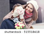 picture showing young couple... | Shutterstock . vector #515518618